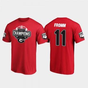 Georgia #11 Men's Jake Fromm T-Shirt Red Alumni 2019 SEC East Football Division Champions 564821-870