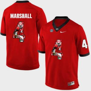 Georgia Bulldogs #4 Mens Keith Marshall Jersey Red NCAA Pictorial Fashion 235849-133