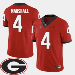 University of Georgia #4 Men's Keith Marshall Jersey Red Alumni 2018 SEC Patch College Football 647334-997