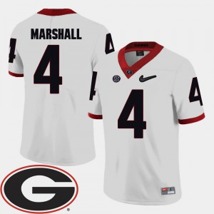 Georgia Bulldogs #4 For Men's Keith Marshall Jersey White University College Football 2018 SEC Patch 453102-891