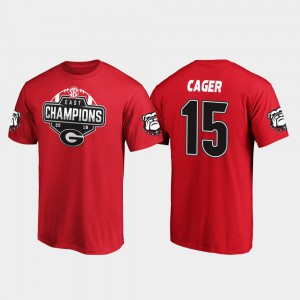 Georgia #15 Men Lawrence Cager T-Shirt Red 2019 SEC East Football Division Champions Player 660500-206