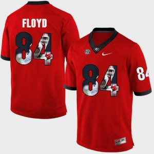 UGA #84 For Men's Leonard Floyd Jersey Red Player Pictorial Fashion 248233-195
