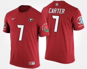 UGA #7 Men Lorenzo Carter T-Shirt Red Southeastern Conference Rose Bowl Bowl Game Embroidery 550239-155