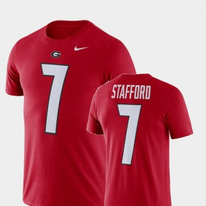 UGA Bulldogs #7 For Men's Matthew Stafford T-Shirt Red Player Football Performance 227304-647
