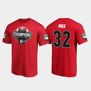 University of Georgia #32 Men Monty Rice T-Shirt Red 2019 SEC East Football Division Champions College 322444-844