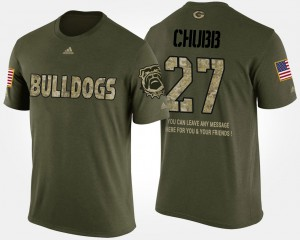 Georgia #27 For Men's Nick Chubb T-Shirt Camo Short Sleeve With Message Military Player 457125-354