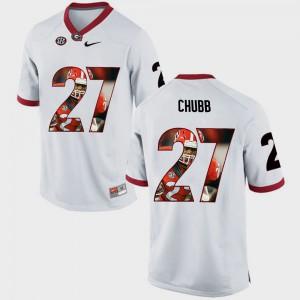 UGA Bulldogs #27 Mens Nick Chubb Jersey White Stitch Pictorial Fashion 473980-274