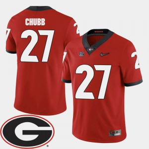 UGA #27 For Men's Nick Chubb Jersey Red 2018 SEC Patch College Football Official 989794-840