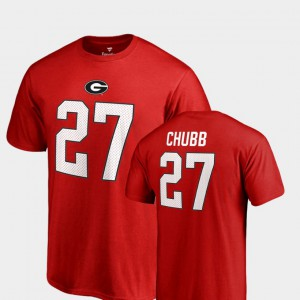 University of Georgia #27 For Men's Nick Chubb T-Shirt Red Name & Number College Legends High School 689841-673