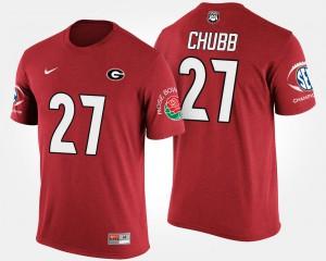 UGA Bulldogs #27 Mens Nick Chubb T-Shirt Red Southeastern Conference Rose Bowl Bowl Game High School 311116-666