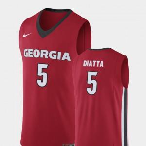 Georgia #5 Men Pape Diatta Jersey Red Embroidery College Basketball Replica 723050-234
