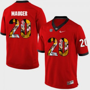 GA Bulldogs #20 For Men Quincy Mauger Jersey Red Stitched Pictorial Fashion 472002-641