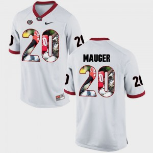 GA Bulldogs #20 Men Quincy Mauger Jersey White College Pictorial Fashion 305405-152