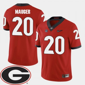 UGA Bulldogs #20 Men's Quincy Mauger Jersey Red Alumni 2018 SEC Patch College Football 570488-357