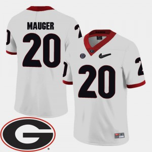 Georgia Bulldogs #20 For Men Quincy Mauger Jersey White 2018 SEC Patch College Football College 988504-426