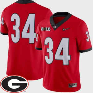 Georgia Bulldogs #34 Men Jersey Red High School College Football 2018 National Championship Playoff Game 834213-782