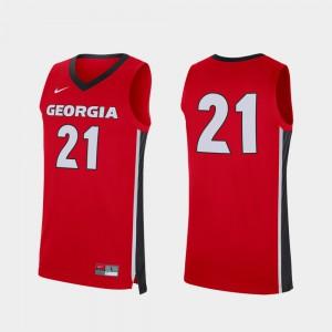 Georgia #21 Men's Jersey Red College Basketball Replica Stitched 943901-395