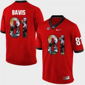 UGA Bulldogs #81 Men's Reggie Davis Jersey Red College Pictorial Fashion 691360-959