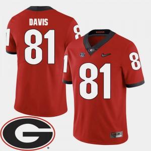 University of Georgia #81 Mens Reggie Davis Jersey Red Alumni 2018 SEC Patch College Football 232684-667