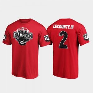 Georgia Bulldogs #2 Men Richard LeCounte III T-Shirt Red Stitched 2019 SEC East Football Division Champions 672326-225