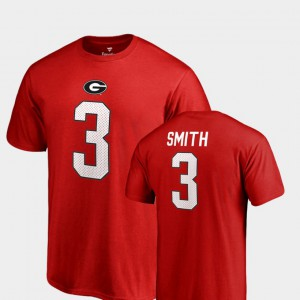 UGA Bulldogs #3 Mens Roquan Smith T-Shirt Red Name & Number College Legends High School 310207-938