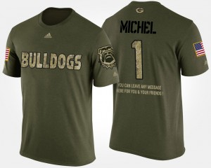 UGA Bulldogs #1 Mens Sony Michel T-Shirt Camo College Military Short Sleeve With Message 327942-309