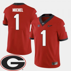 UGA #1 For Men Sony Michel Jersey Red University 2018 SEC Patch College Football 959478-488