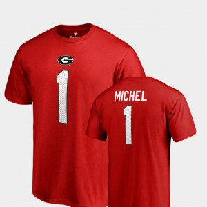 GA Bulldogs #1 Men's Sony Michel T-Shirt Red Name & Number College Legends Alumni 443177-374
