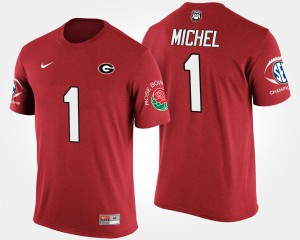 UGA #1 Mens Sony Michel T-Shirt Red College Bowl Game Southeastern Conference Rose Bowl 419865-520
