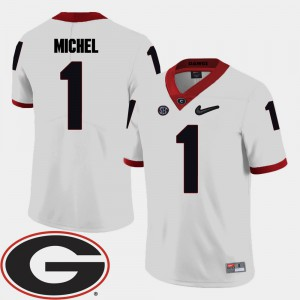 Georgia #1 For Men's Sony Michel Jersey White 2018 SEC Patch College Football Player 324293-898