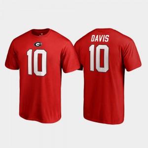 University of Georgia #10 Men's Thomas Davis Sr. T-Shirt Red Name & Number College Legends University 351841-711