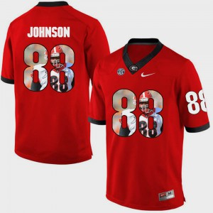 GA Bulldogs #88 Men's Toby Johnson Jersey Red Alumni Pictorial Fashion 144859-852