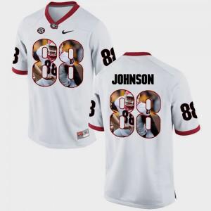 Georgia Bulldogs #88 For Men's Toby Johnson Jersey White Pictorial Fashion High School 908868-554