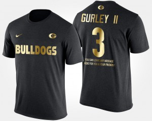 Georgia Bulldogs #3 For Men's Todd Gurley II T-Shirt Black College Gold Limited Short Sleeve With Message 479078-637