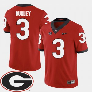 Georgia Bulldogs #3 For Men Todd Gurley Jersey Red Stitched 2018 SEC Patch College Football 430281-268