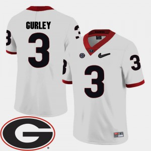 UGA Bulldogs #3 For Men Todd Gurley Jersey White 2018 SEC Patch College Football Embroidery 727159-665