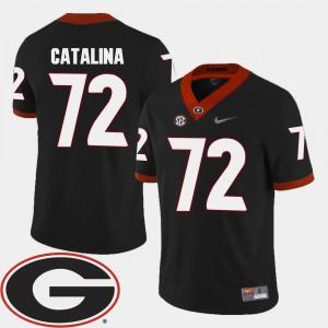 UGA Bulldogs #72 Mens Tyler Catalina Jersey Black 2018 SEC Patch College Football NCAA 897204-569