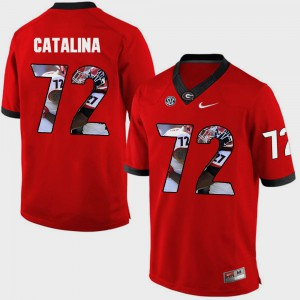 University of Georgia #72 Men's Tyler Catalina Jersey Red Stitched Pictorial Fashion 537062-580