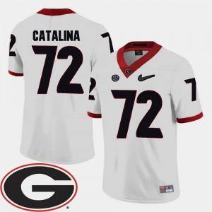 Georgia Bulldogs #72 Mens Tyler Catalina Jersey White 2018 SEC Patch College Football University 923413-938