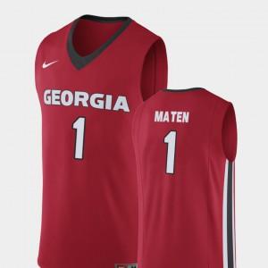 University of Georgia #1 For Men's Yante Maten Jersey Red College Basketball Replica University 179233-500
