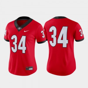 UGA #34 For Women Jersey Red Alumni College Football Game 589902-218