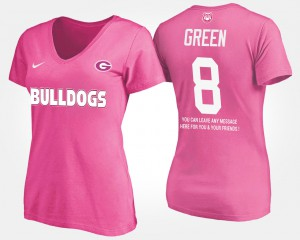 GA Bulldogs #8 For Women's A.J. Green T-Shirt Pink Stitch With Message 243577-161