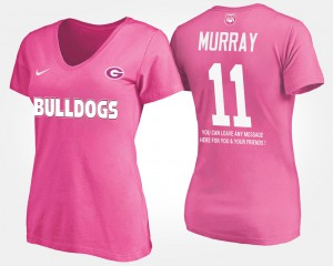 UGA Bulldogs #11 Ladies Aaron Murray T-Shirt Pink College With Message 244888-952
