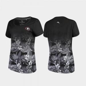 UGA Bulldogs Women's T-Shirt Black Alumni Floral Victory Tommy Bahama 878067-351