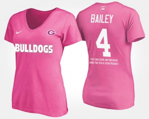 UGA Bulldogs #4 Women Champ Bailey T-Shirt Pink Official With Message 941139-883