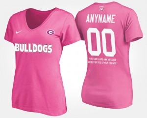 UGA #00 Women's Customized T-Shirt Pink Stitched With Message 258584-964