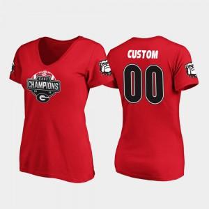 Georgia #00 For Women's Custom T-Shirts Red University 2019 SEC East Football Division Champions V-Neck 783026-562