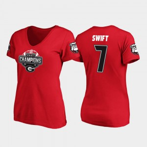 GA Bulldogs #7 Women's D'Andre Swift T-Shirt Red V-Neck 2019 SEC East Football Division Champions Stitched 281765-755