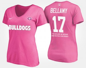 University of Georgia #17 For Women Davin Bellamy T-Shirt Pink Official With Message 200892-116