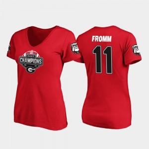 Georgia Bulldogs #11 For Women Jake Fromm T-Shirt Red Alumni 2019 SEC East Football Division Champions V-Neck 757788-402